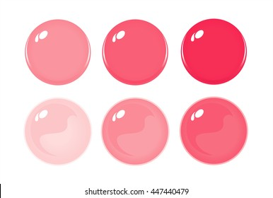 Illustration of icon bottons isolated on white. Set of Red labels, 6 bottons. Graduation color. Glass balls. Vector
