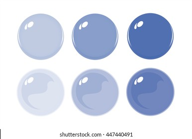 Illustration of icon bottons isolated on white. Set of Purple labels, 6 bottons. Graduation color. Glass balls. Vector