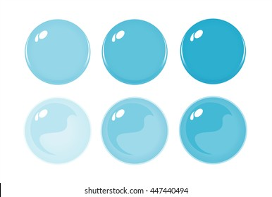 Illustration of icon bottons isolated on white. Set of Light Blue labels, 6 bottons. Graduation color. Glass balls. Vector