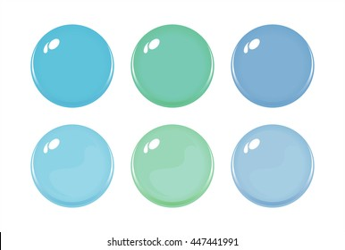 Illustration of icon bottons isolated on white. Set of Blue Green Purple labels, 6 bottons. Multi-colored glass balls. Vector