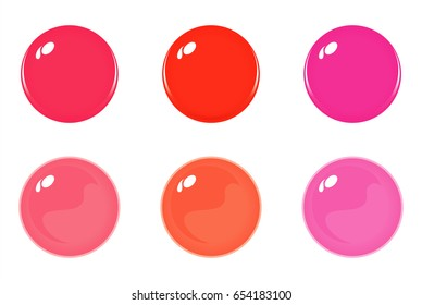 Illustration of icon bottons isolated on white. Set of Orange Red Pink labels, 6 bottons. Glass balls. Vector
