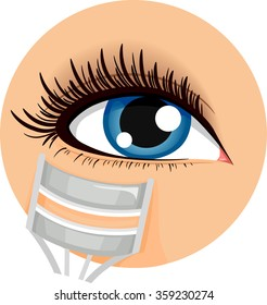 Illustration of an Icon Demonstrating How to Use an Eyelash Curler
