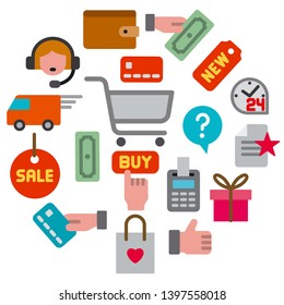 illustration of icon e-commerce shop and business