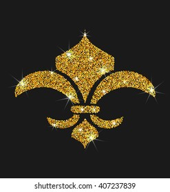 illustration Icon of Fleur de Lis with Glitter Surface. Shimmering Object on Black Background - Vector