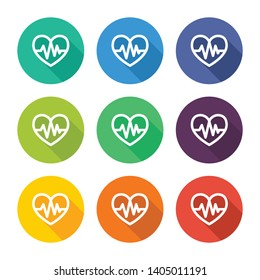 Illustration icon for heart and cardiogram with several color alternatives.