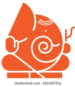 Illustration icon of Lord ganesha in profile view