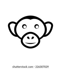 Illustration icon monkey head, isolated on white background - vector