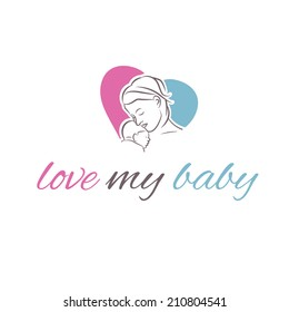 illustration icon mother and her baby in shape heart