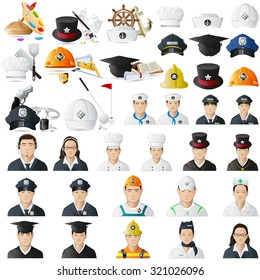 illustration of icon set for different professions jumbo collection