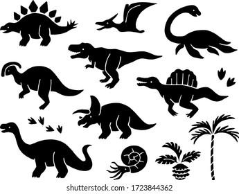 Illustration icon set of dinosaurs