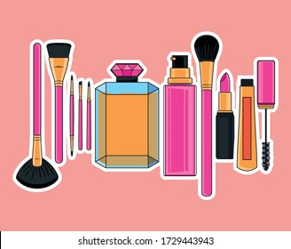 Illustration of icon set of makeup items