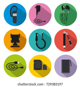 illustration of icon set mobile accessories for phone