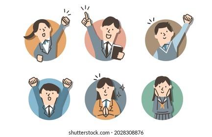 Illustration icon set of motivational students wearing school uniform