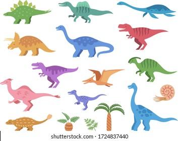 Illustration icon set of various dinosaurs