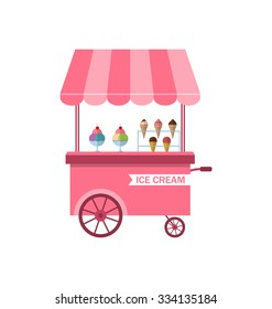 Illustration Icon of Stand of Ice Creams, Sweet Cart Isolated on White Background - Vector