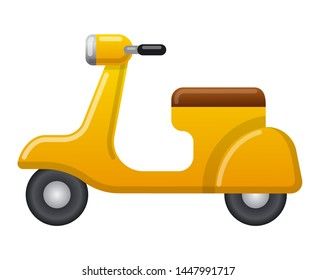 illustration of icon yellow vintage retro scooter