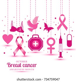 Illustration with icons of breast cancer for october awareness month.