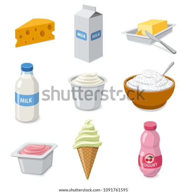 illustration of  icons set dairy milk products