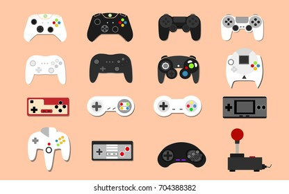 Illustration icons set Game Controllers modern and vintage in flat Vector