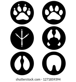 Illustration icons, symbol animal paws, dog, bird, equine, bovine, swine, feline. Ideal for visual communication, veterinary information and institutional material