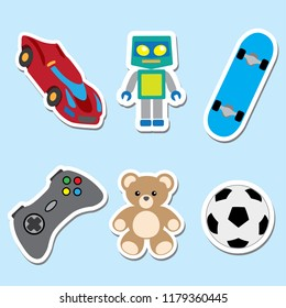 Illustration of an icons of toys, trolley, robot, video game, skate, ball, teddy bear. Ideal for catalogs, information and institutional and educational material