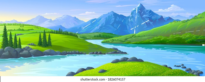 An illustration of the icy mountains in the distance with lush green fields of meadows and a river flowing across the vast lands.