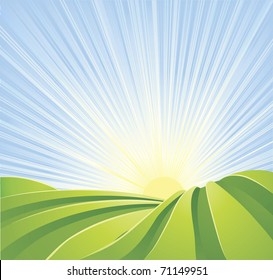 Illustration of idyllic green fields with sunshine rays and blue sky. A perfect landscape scene.