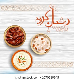 illustration of Iftar party invitation greeting Ramadan Kareem (Generous Ramadan) greetings in Arabic freehand for Islam religious festival Eid with antique golden jug and drink glass