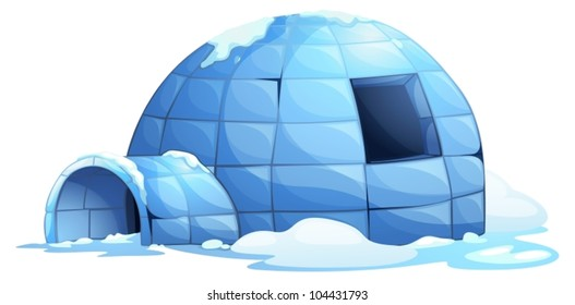 illustration of an igloo on white