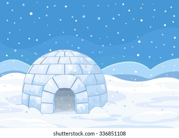 Illustration of an igloo on winter background