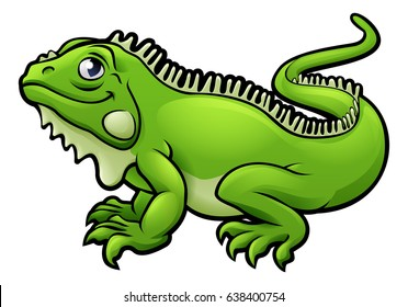 An illustration of an iguana lizard cartoon character