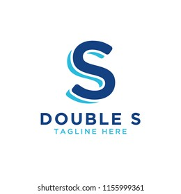 Illustration of iitial letter s double logo design template