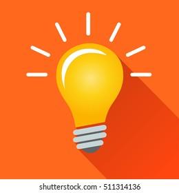Illustration of illuminated lightbulb concept with shadow