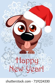 Illustration in the image of a funny dog in Santa's cap for congratulations on the New Year