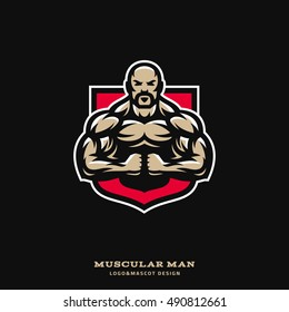 Illustration with the image of the muscular man which is straining the muscles in the background of the shield. Logo and mascot for sport team, gym, tournament.