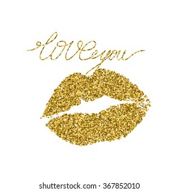 Illustration imprint of a kiss with gold glitter lipstick.