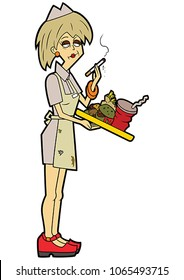 Illustration an impudent waitress woman with a cigarette. She holds spoiled bad food