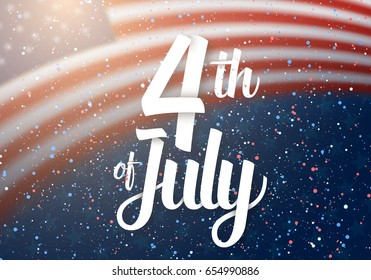 Illustration of Independence Day Vector Poster. 4th of July Paper Lettering. American Red Flag on Blue Background with Stars and Confetti