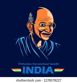 illustration of India background with Nation Hero and Freedom Fighter Mahatma Gandhi for Independence Day or Gandhi Jayanti