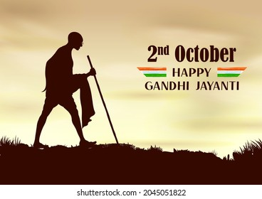 illustration of India background with Nation Hero and Freedom Fighter Mahatma Gandhi popularly known as Bapu for 2nd October Gandhi Jayanti