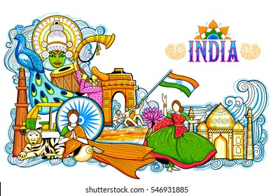 illustration of India background showing its incredible culture and diversity with monument, dance and festival