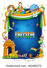 illustration of India background showing its incredible culture and diversity with monument, dance festival