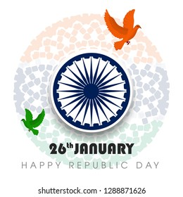 illustration of India background in tricolor and Ashoka Chakra vector illustration of republic day celebration. 26 January - Vector