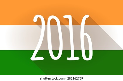 Illustration of an India flag icon with a 2016 sign