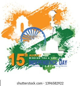 illustration of india gate and army memorial on Indian tricolor flag background. Elegant Poster, Banner or Flyer design for Indian Independence Day celebration. - Vector