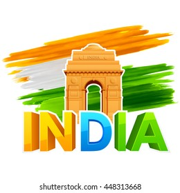 illustration of India Gate with Tricolor Flag for Republic Day and Independence Day celebration