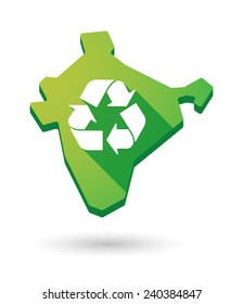 Illustration of an India map icon with a  recycle sign