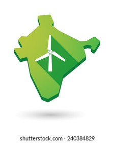 Illustration of an India map icon with a  wind generator