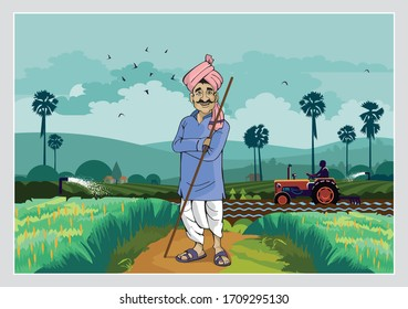 Illustration of Indian agriculture and happy farmer