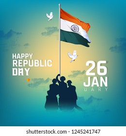 illustration of Indian army with flag for Happy Republic Day of India celebration  (26 January)